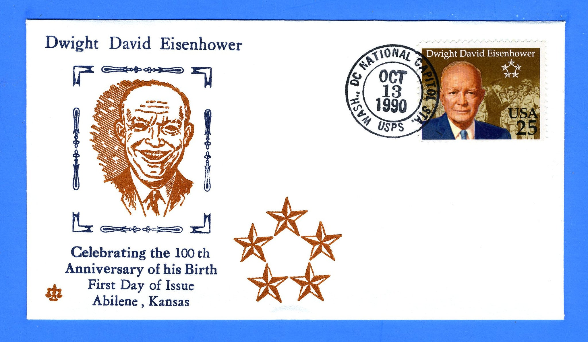 Scott 2513 25c Dwight D Eisenhower FDC by Blair Law - Unofficial National Capitol Post Office Washington, DC Cancel