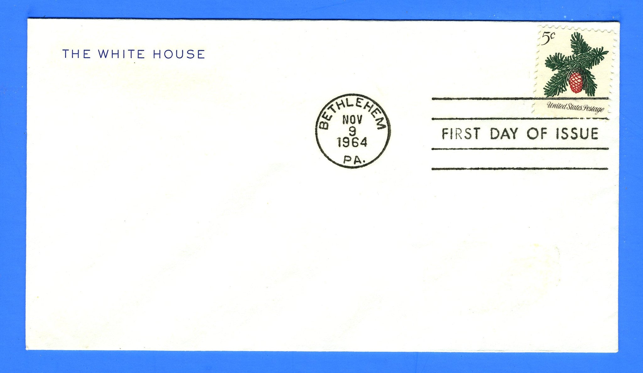 Scott 1257 5c Christmas First Day Cover on Official White House Corner Card