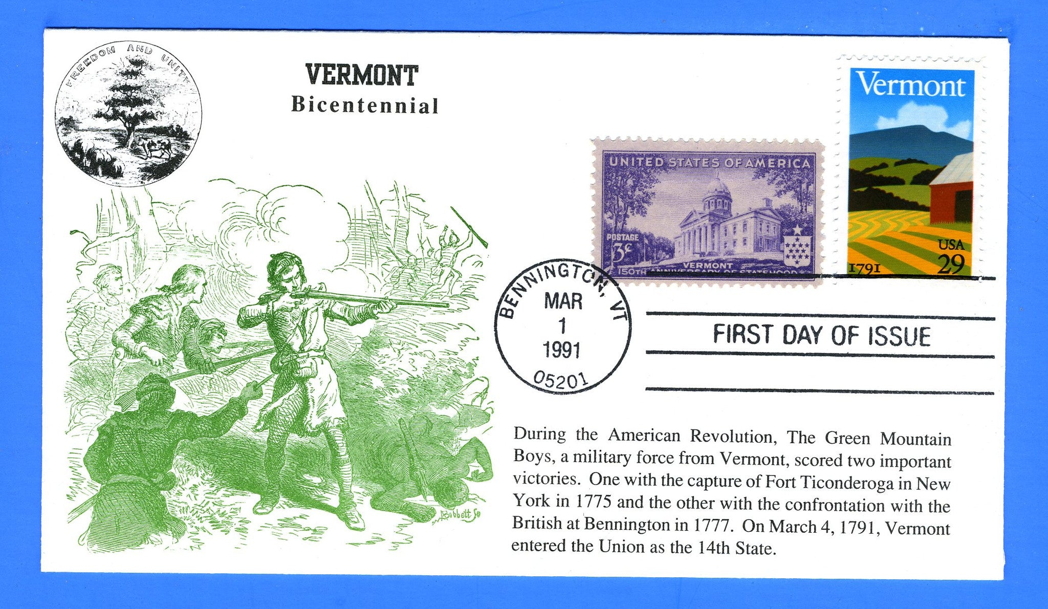 Scott 2533 29c Vermont Bicentennial First Cover Day by KMC Venture