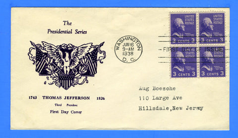 Scott #807 3c Thomas Jefferson First Day Cover by Mayne's Cover Service