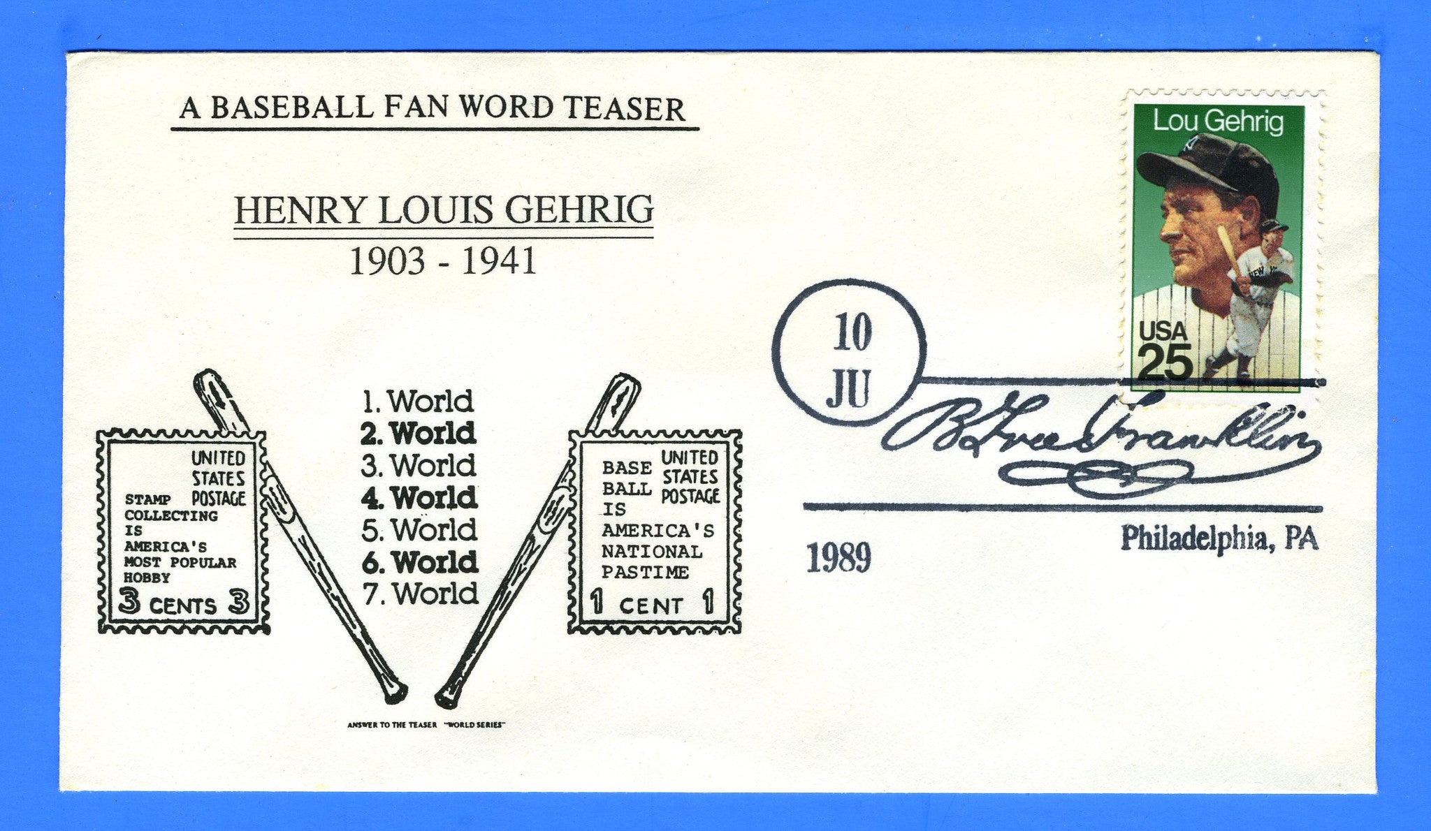 Scott 2417 25c Lou Gehrig First Day Cover - Not Attributed