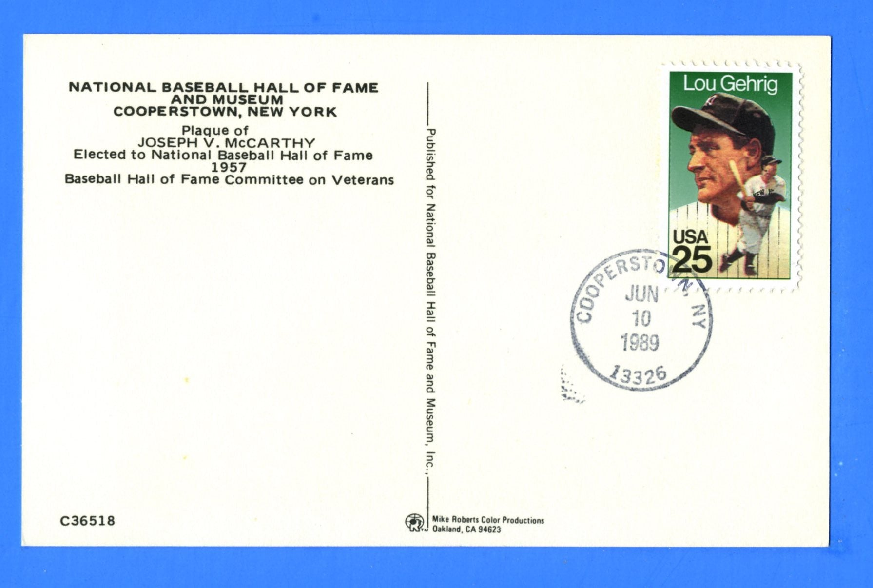 Scott 2417 25c Lou Gehrig First Day Cover on Baseball Hall of Fame Joseph McCarthy Postcard