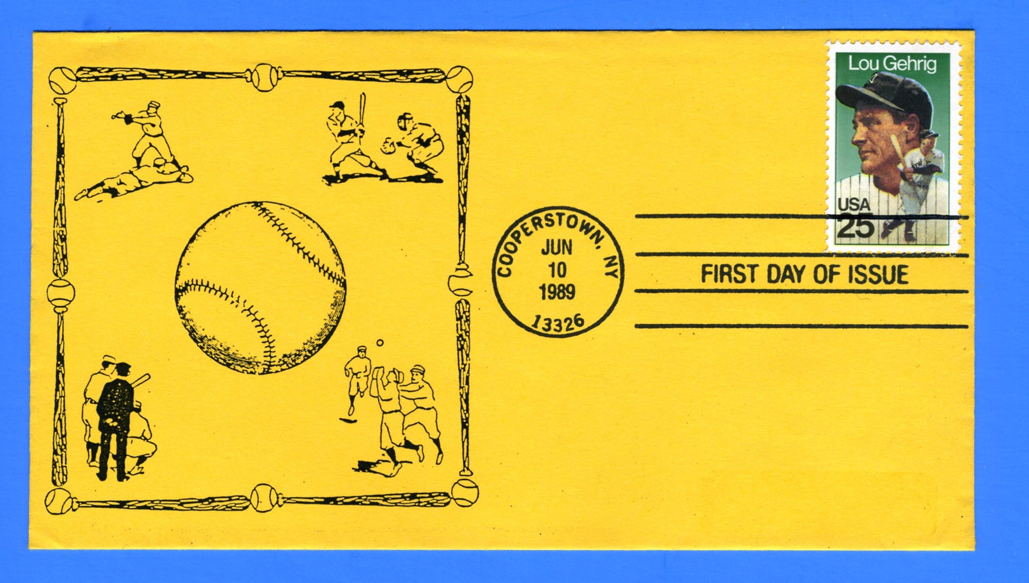Scott 2417 25c Lou Gehrig First Day Cover by Coin 4 Cachet