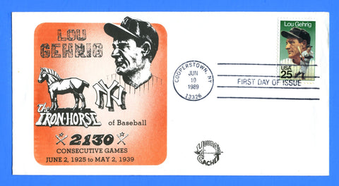 Scott 2417 25c Lou Gehrig First Day Cover by Young Cachet