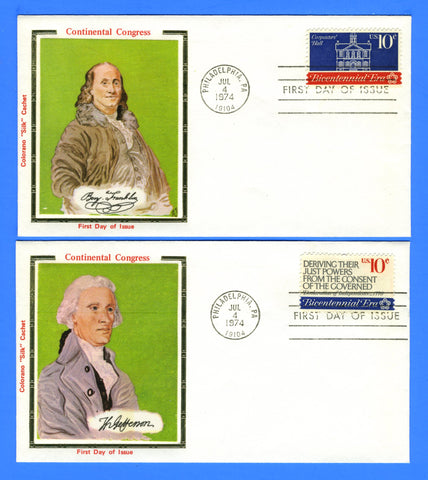 Scott 1543-46 Continental Congress Set of 4 First Day Covers Very Early Colorano
