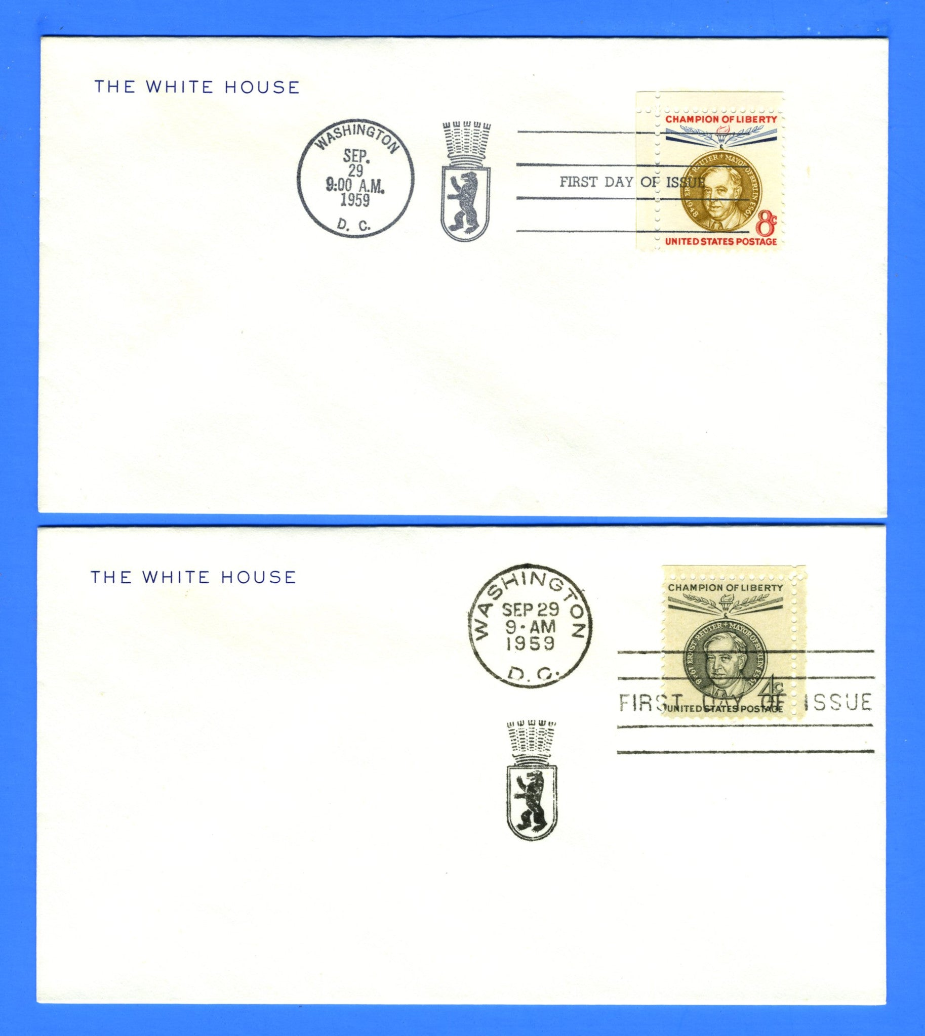 Scott 1136-37 Ernst Reuter Champion of Liberty Set of 2 First Day Covers on Official White House Corner Card
