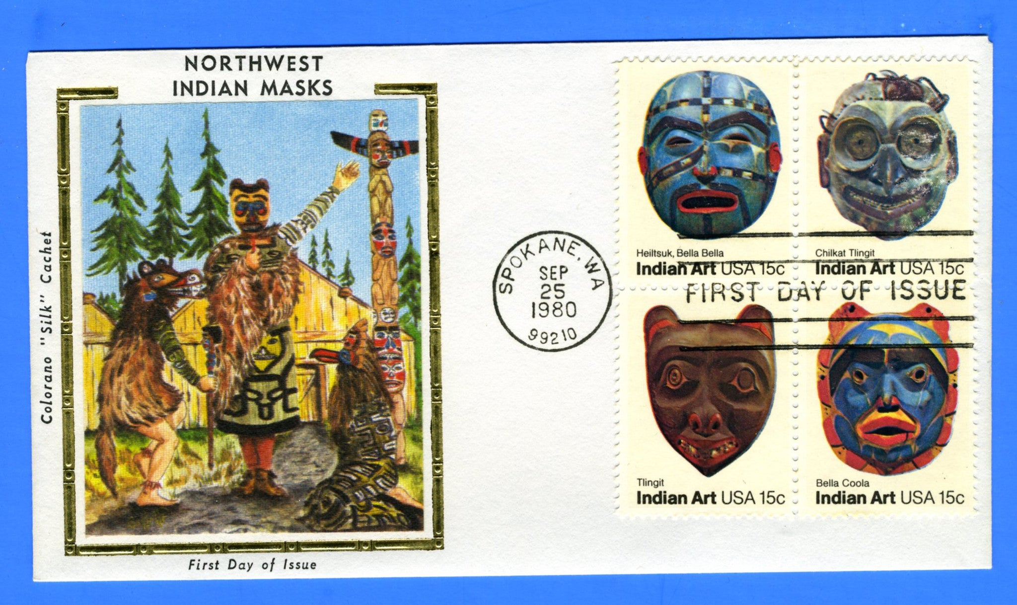 Scott 1827a 15c Indian Masks First Day Cover by Colorano