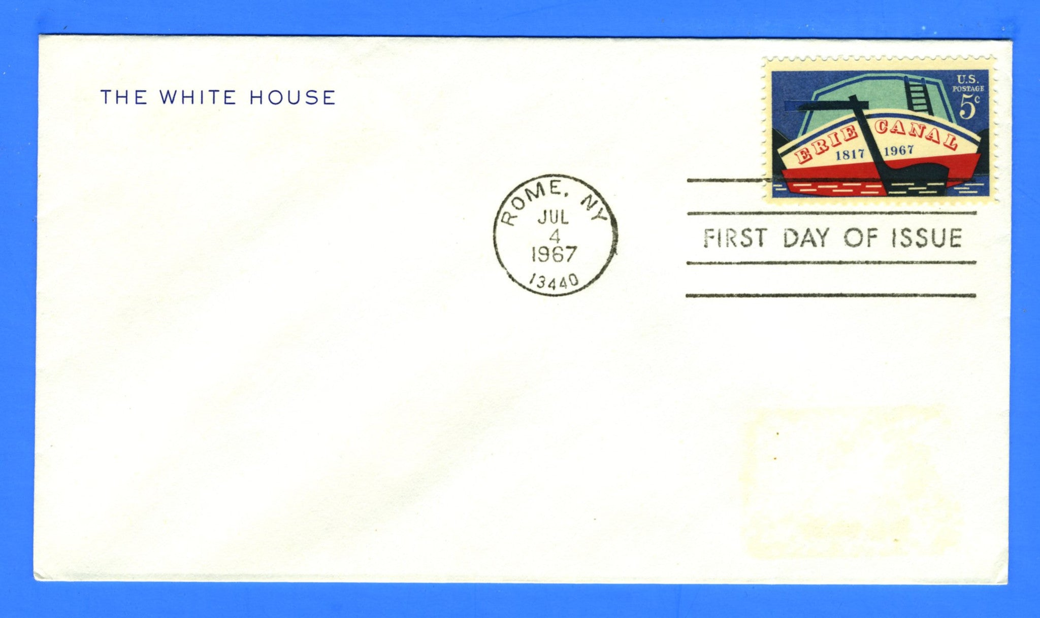 Scott 1325 Erie Canal First Day Cover on Official White House Corner Card