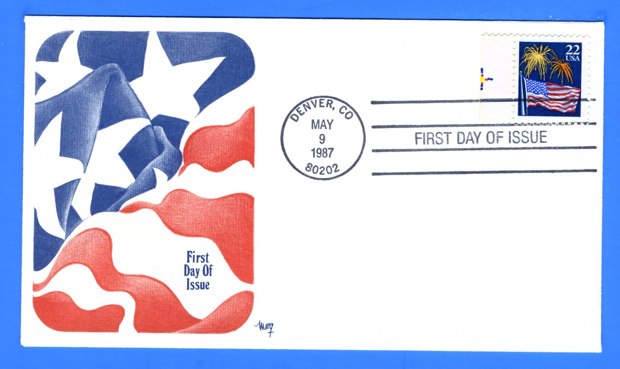 Scott 2276 22c Flag & Fireworks First Day Cover by Marg
