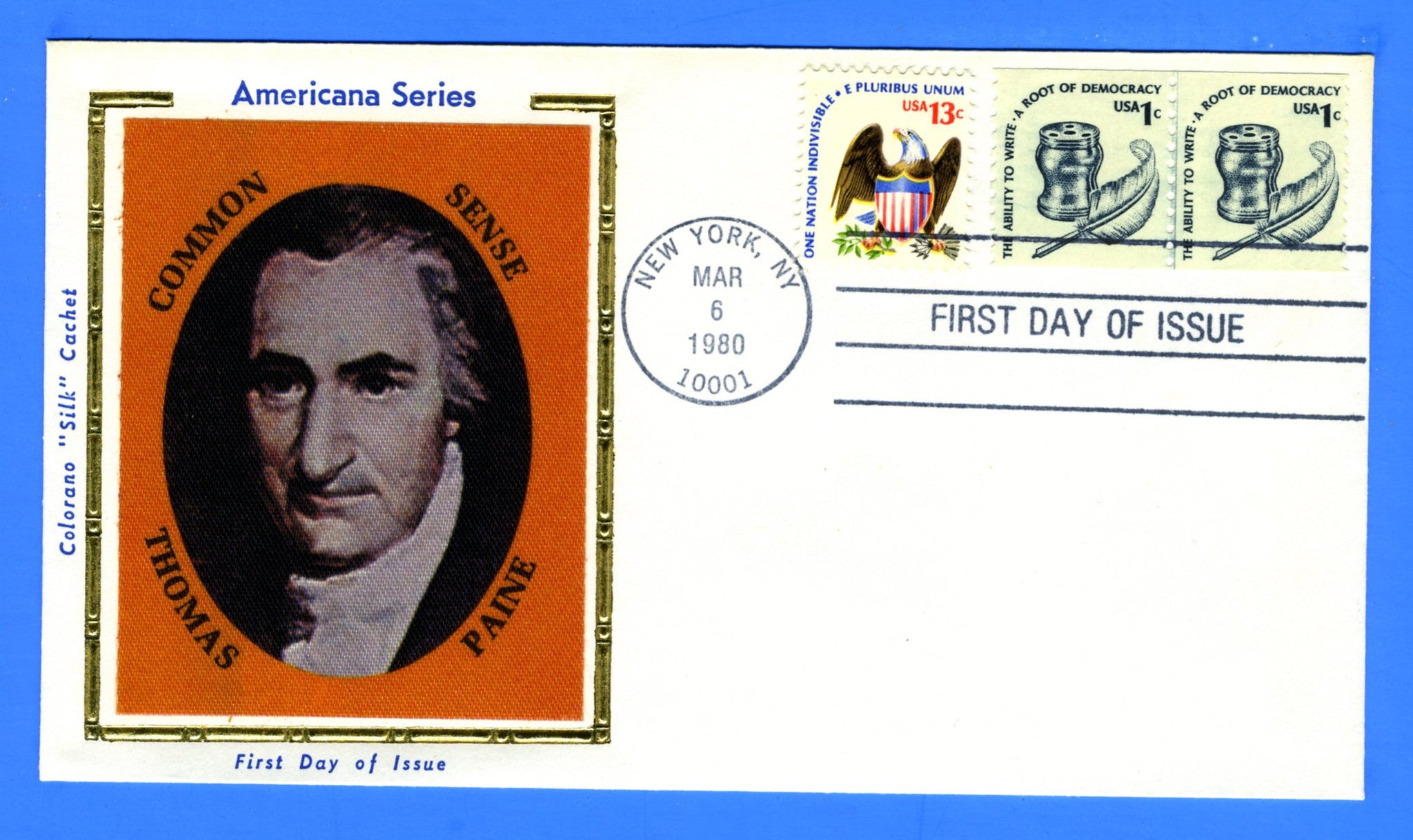 Scott 1811 1c Ink Well & Quill Coil Line Pair First Day Cover by Colorano