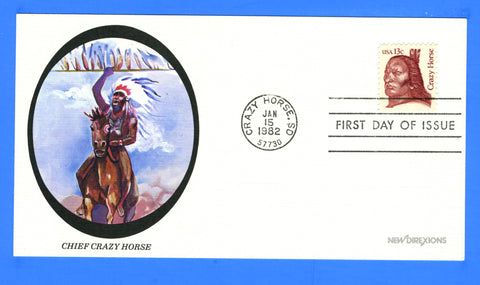 Scott 1855 13c Crazy Horse First Day Cover by New Direxions on Card