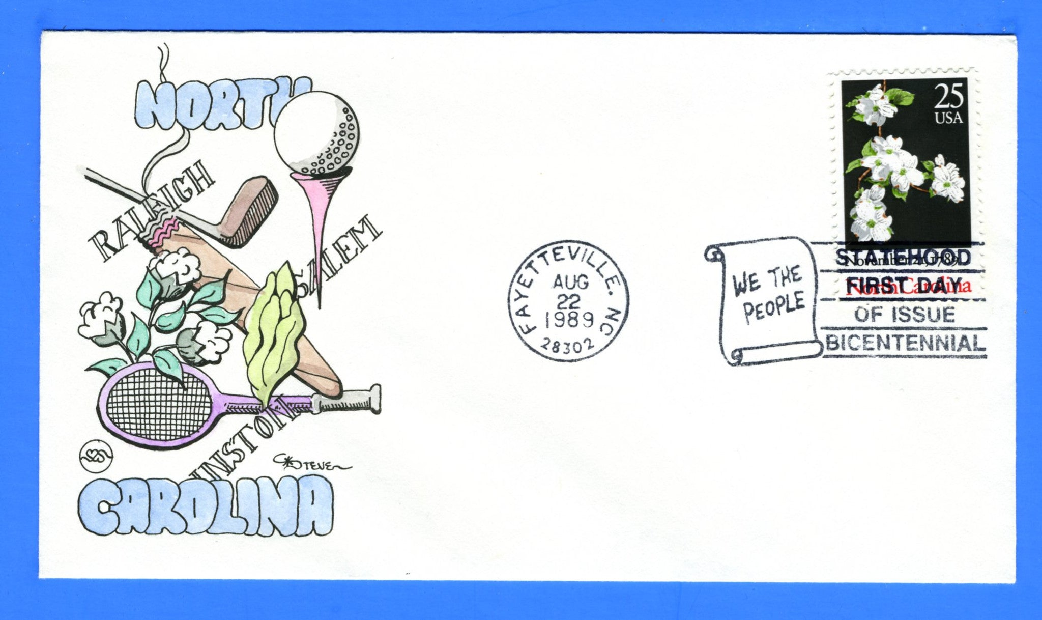 Scott 2347 25c North Carolina Hand Drawn and Colored First day Cover by Steve Wilson