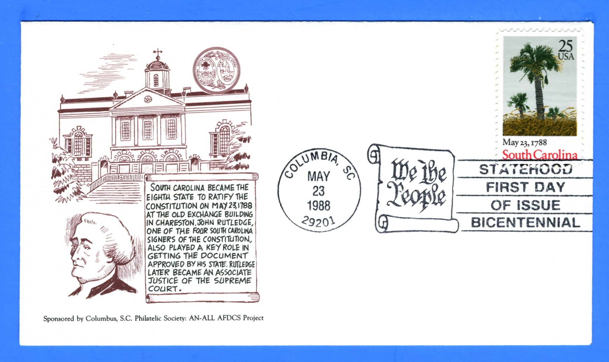 Scott 2343 25c South Carolina First Day Cover by LRC Cachets for the South Carolina Philtelic Society