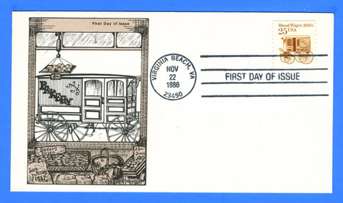 Scott 2136 25c Bread Wagon Transportation FDC by Paslay