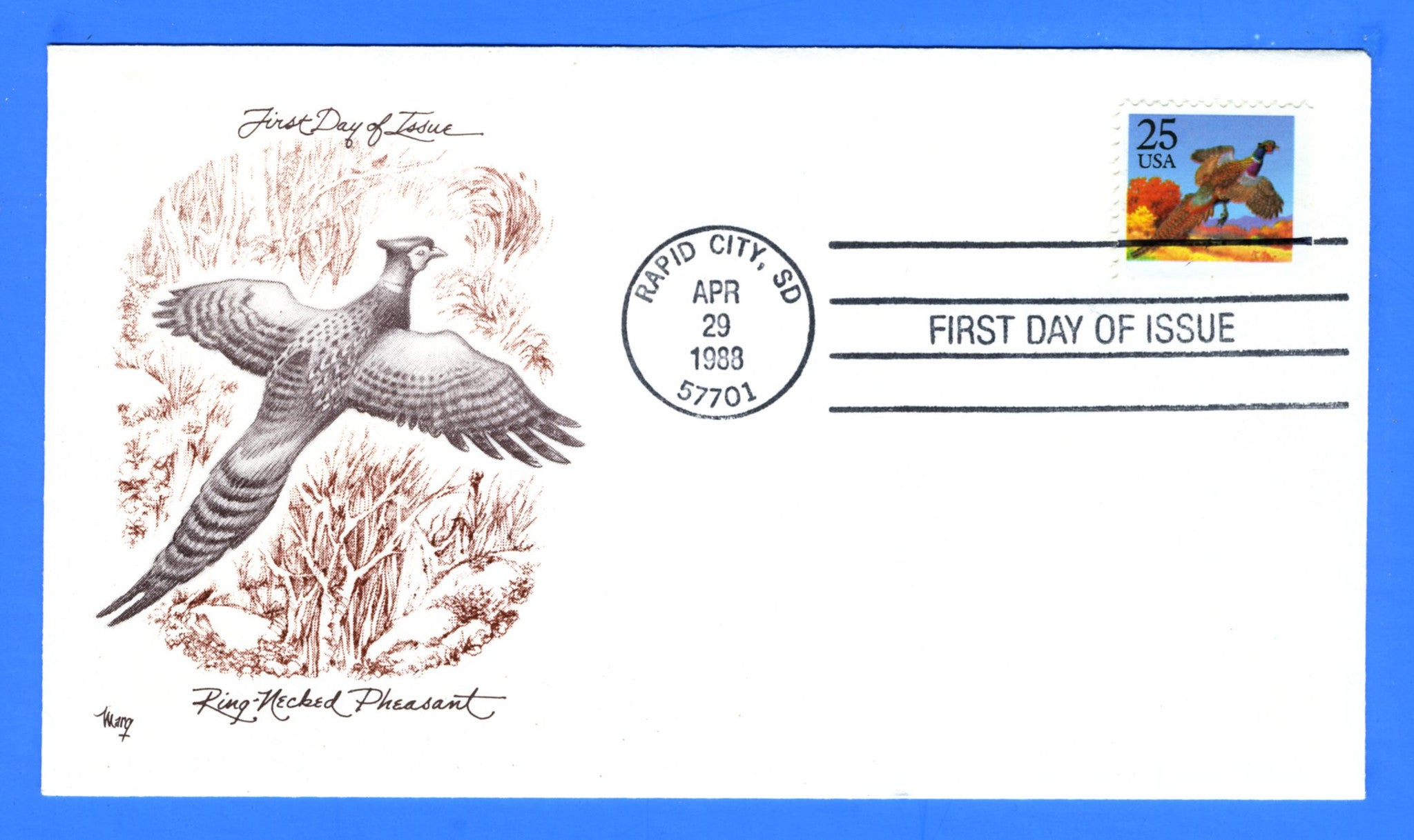 Scott 2283 25c Pheasant Booklet Single First Day Cover by Marg