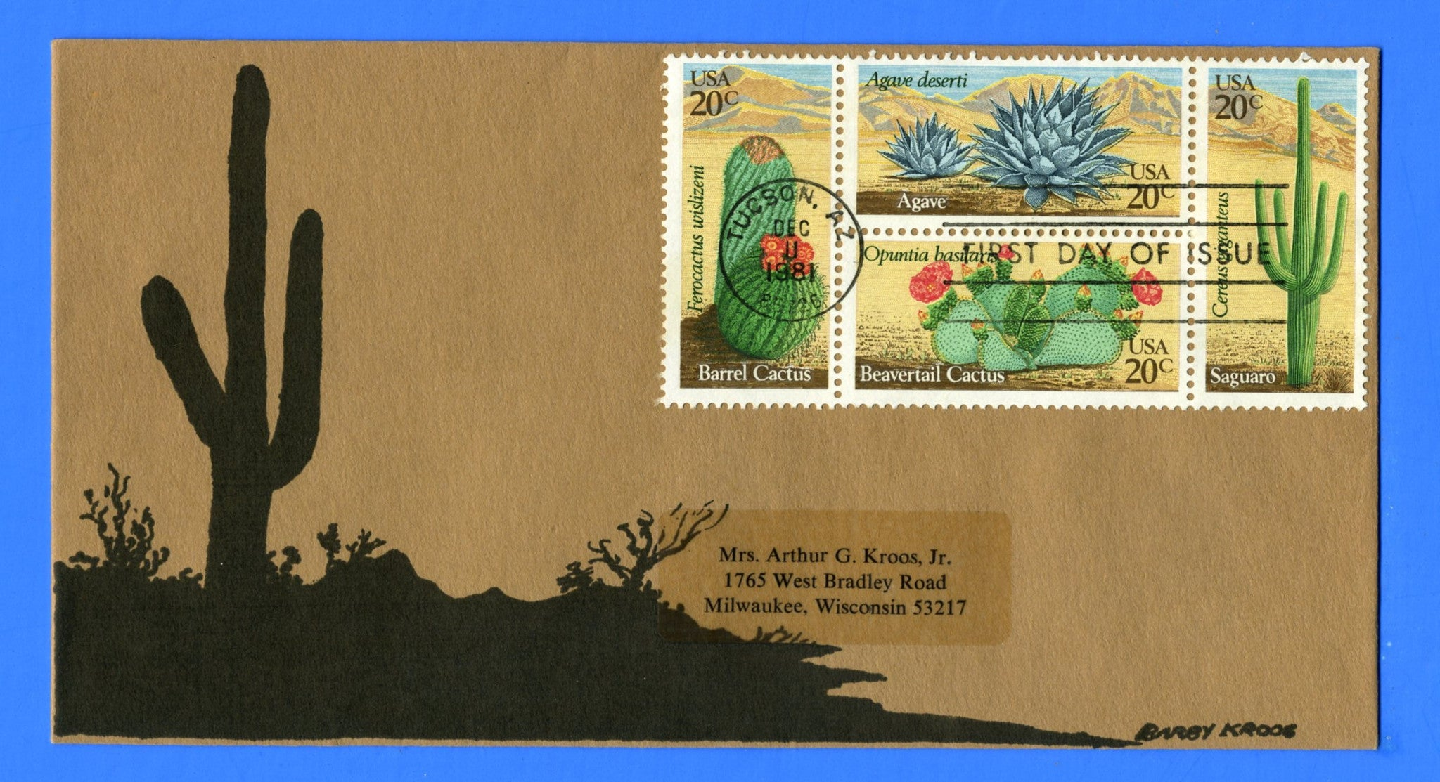 Scott 1945a Cactus, Desert Flowers First Day Cover by Barby Kroos