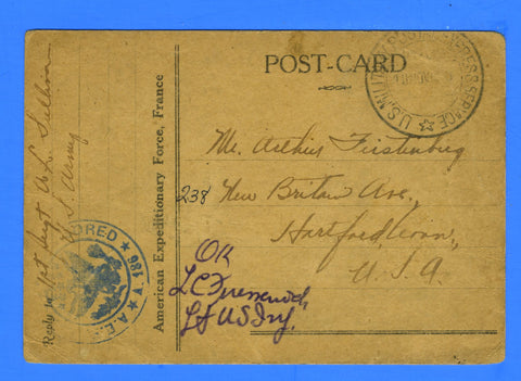 American Expeditionary Force France November 8, 1918 on Knights of Columbus Post Card