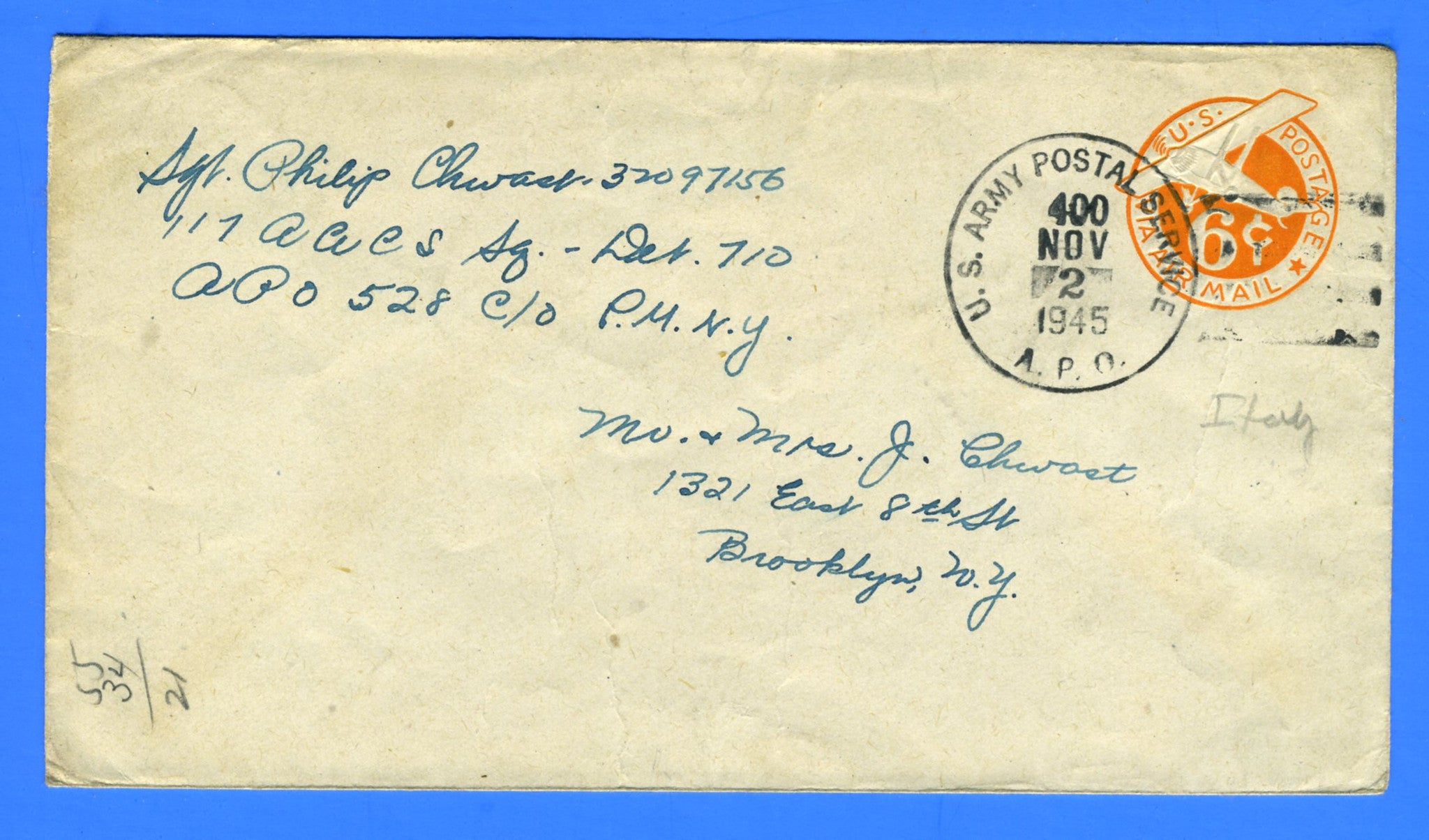 Soldier's Mail APO 528 (Postmarked APO 400) Naples, Italy November 2, 1945