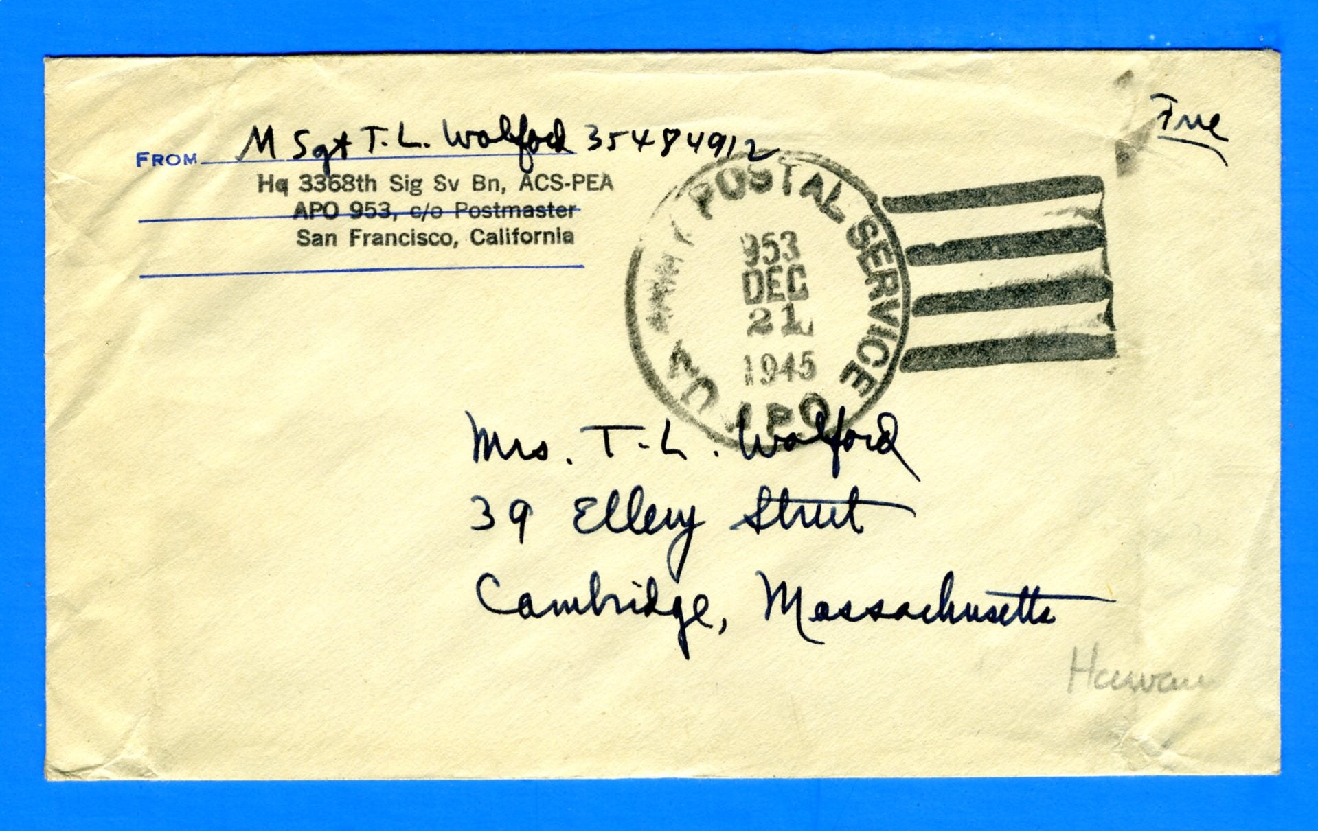"Soldier's ""Free"" Mail APO 953 Hickam Field, Hawaii December 21, 1945"