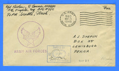 "Army Air Forces Censored ""Free"" Mail 11th Fighter Squadron APO 980 Adak Island Alaska May 21, 1945"