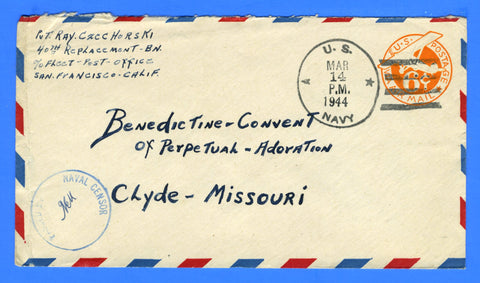 Marine's Censored Mail 40th Replacement Battalion March 14, 1944