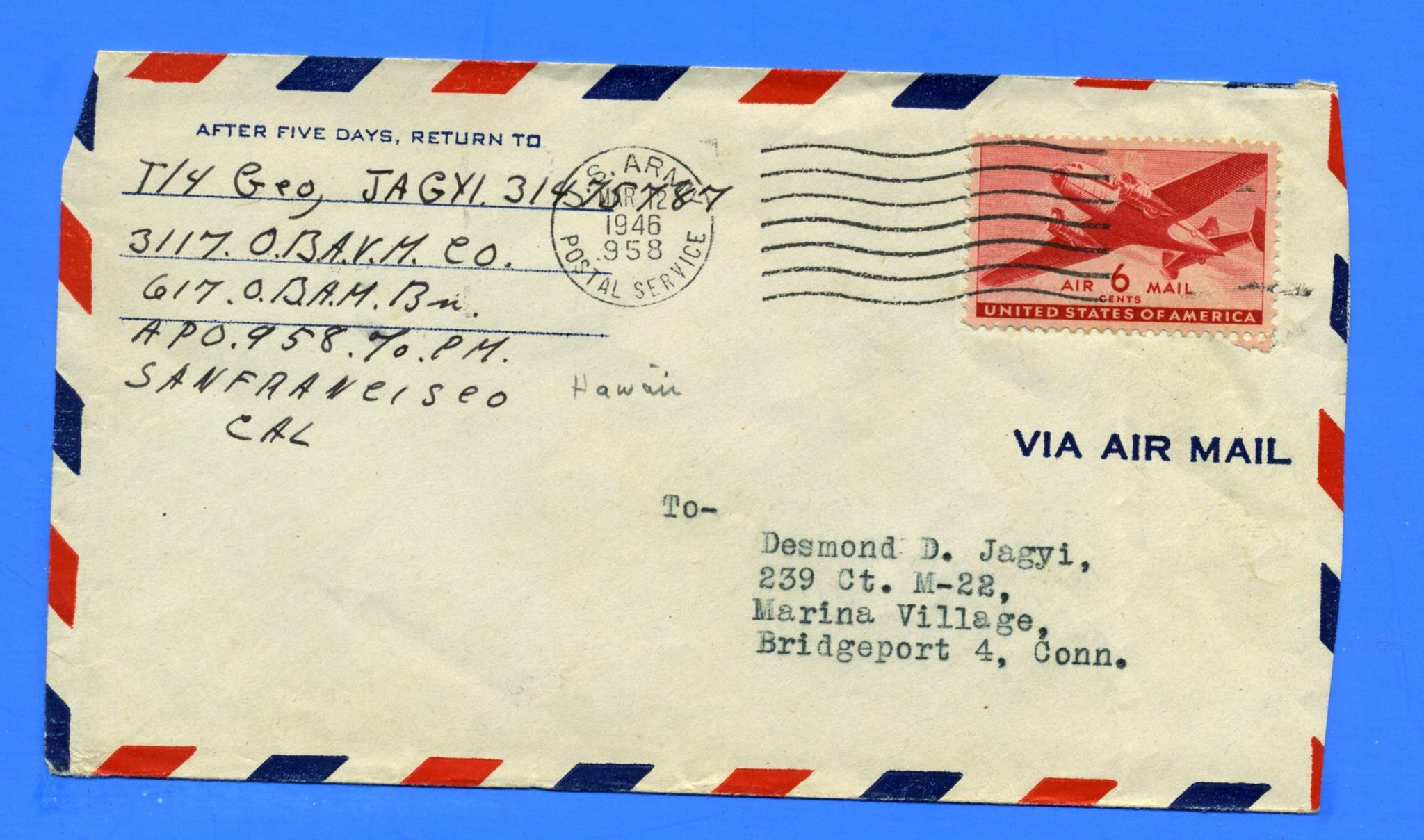 Soldier's Mail APO 958 Fort Shafter, Hawaii March 12, 1946