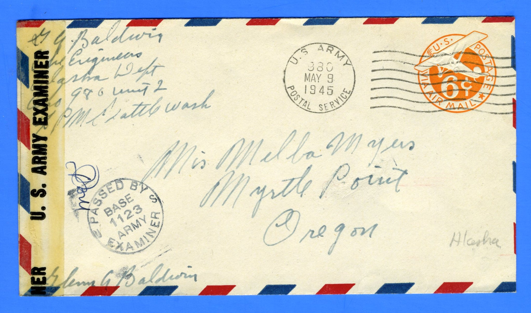 Soldier's Censored Mail APO 980 Adak Island, Alaska May 9, 1945