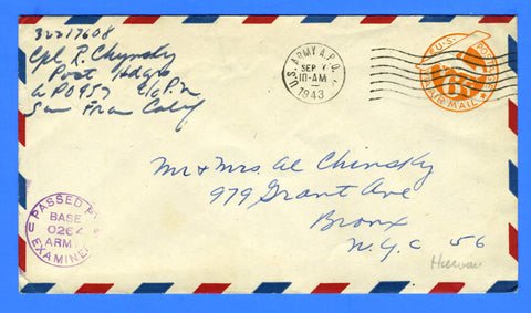 Soldier's Censored Mail APO 957 Schofield Barracks, Hawaii September 7, 1943