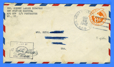 Soldier's Censored Mail APO 505 3rd Station Hospital Tidworth, England October 23, 1942