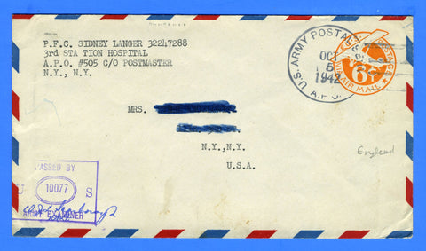 Soldier's Censored Mail APO 505 3rd Station Hospital Tidworth, England October 5, 1942