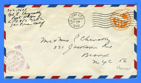 Soldier's Censored Mail APO 957 Schofield Barracks, Hawaii November 20, 1943