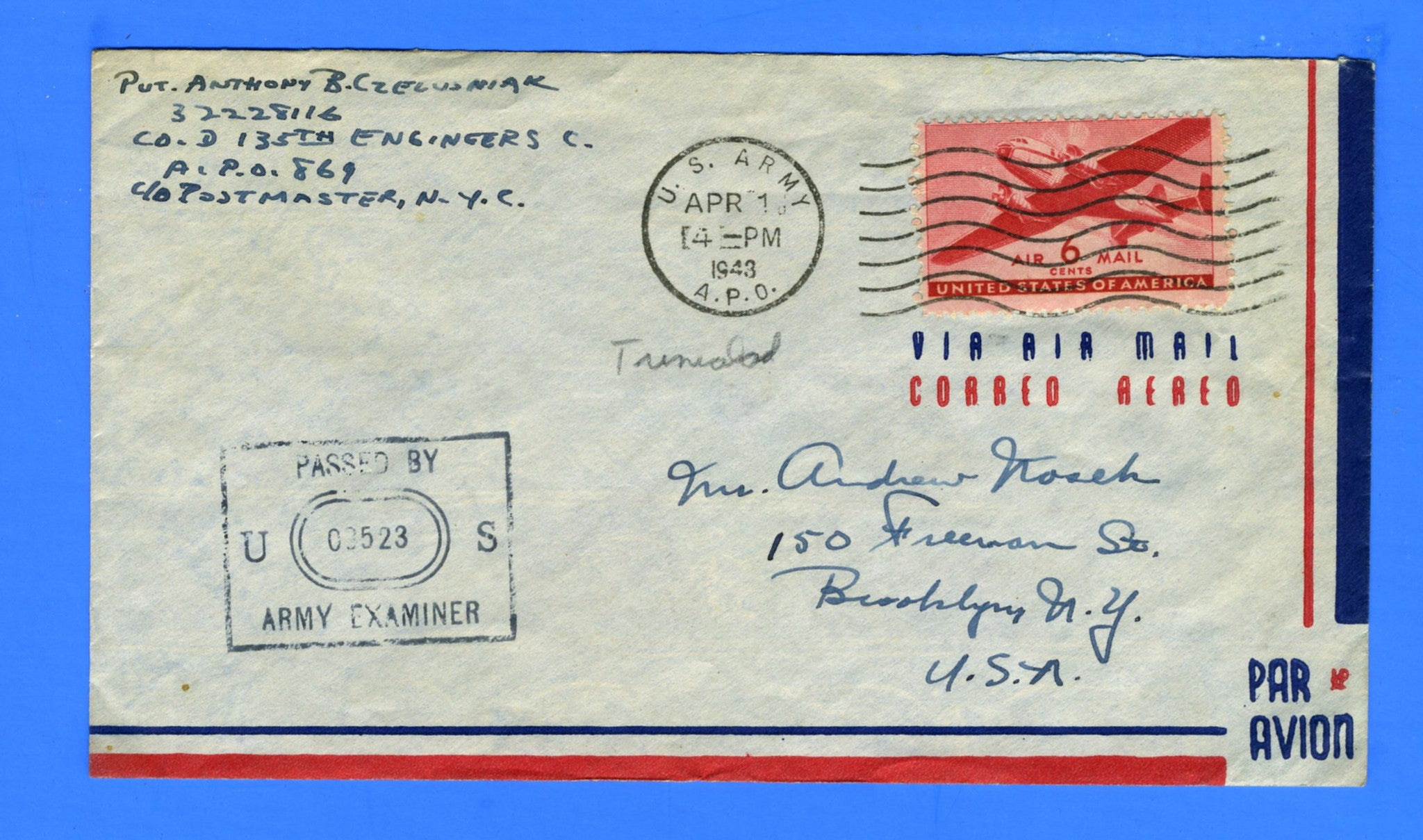 Soldier's Censored Mail APO 869 Fort Read, Trinidad April 1, 1943