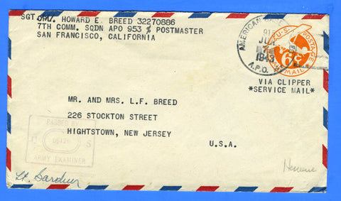 Soldier's Censored Mail APO 953 Hickam Field, Hawaii June 7, 1943 - Via Clipper Service