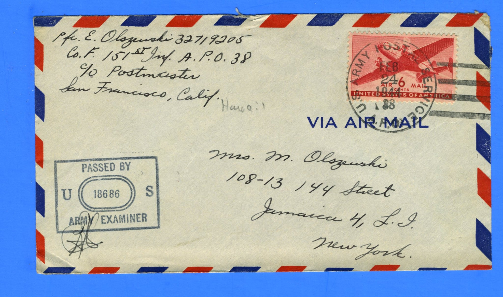 Soldier's Censored Mail APO 38 Aiea, Oahu, Hawaii February 24, 1944