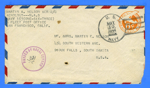 Sailor's Censored Mail Navy #163 Attu, Alaska May 10, 1944