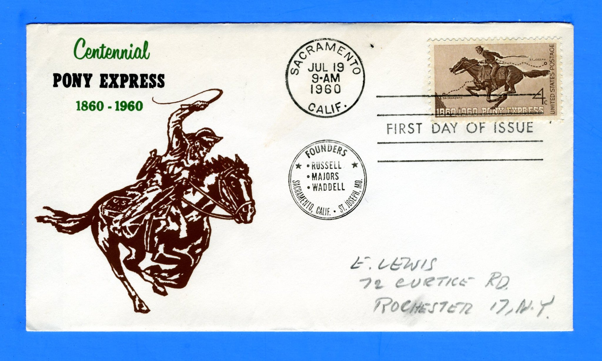 Scott 1154 4c Pony Express Silk Screen First Day Cover by Eric Lewis - Very Rare - Only Eleven Known Copies