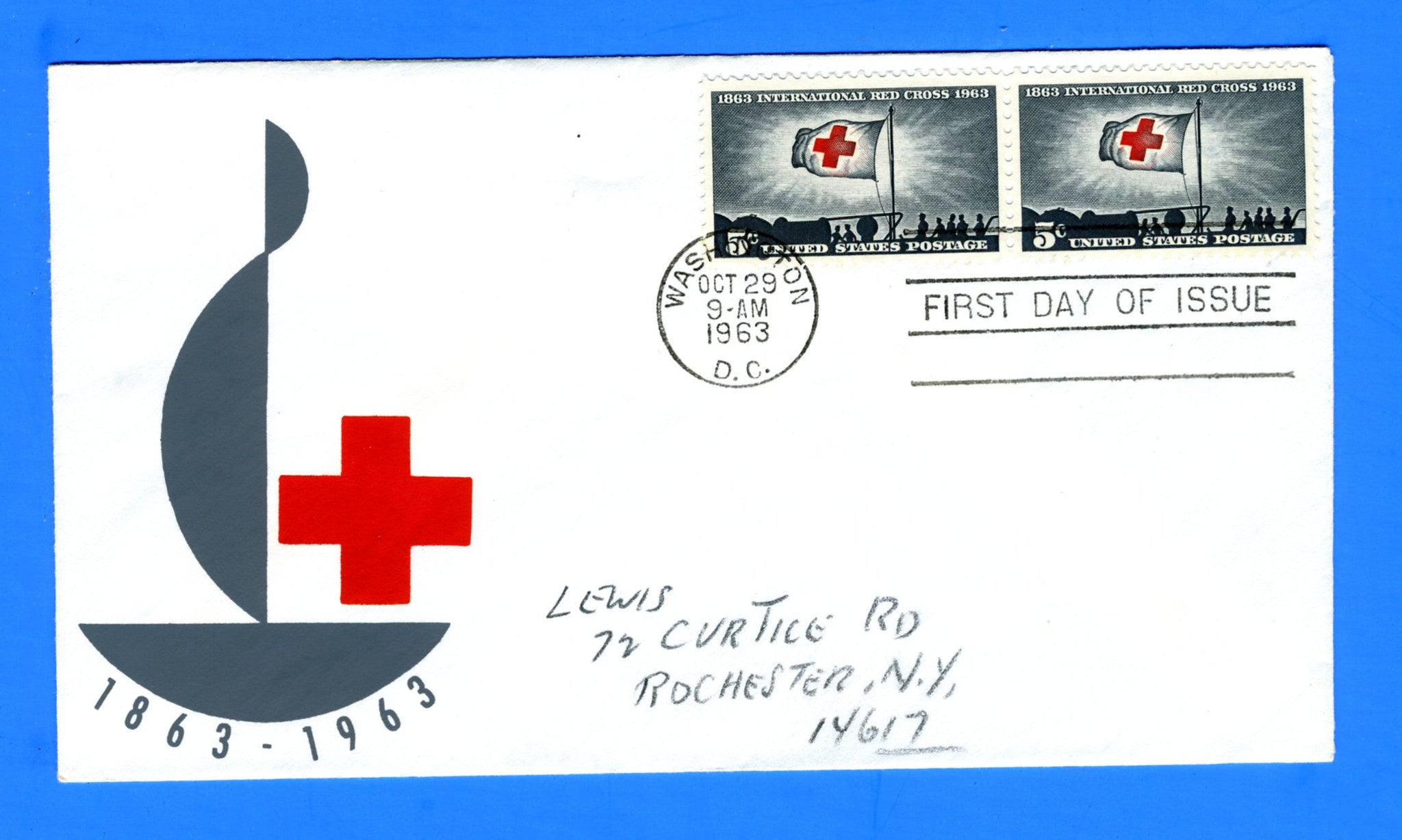 Scott 1239 5c International Red Cross Centennial Silk Screen First Day Cover - Very Rare - Only Eleven Known Copies