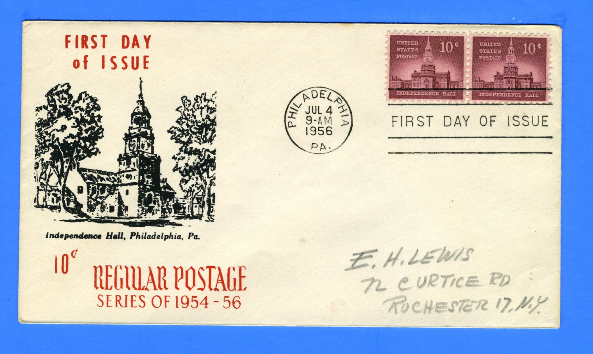 Scott 1044 10c Independence Hall Silk Screen First Day Cover by Eric Lewis - Very Rare - Only Three Known Copies