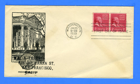 Scott #840 2c John Adams Coil Pair First Day Cover - Cachet by Sudduth Cachets