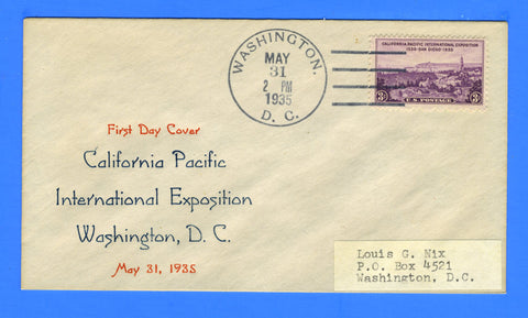 Scott #773 California Pacific International Exposition Second Day of Issue - Cachet by Louis Nix