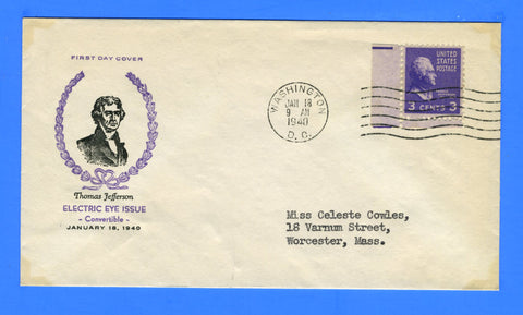 Scott #807 3c Prexy Thomas Jefferson Electric Eye Issue First Day Cover by Fidelity Cachets