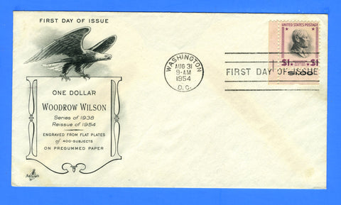 Scott #832c $1 Woodrow Wilson Reprint First Day Cover by Art Craft Machine Cancel