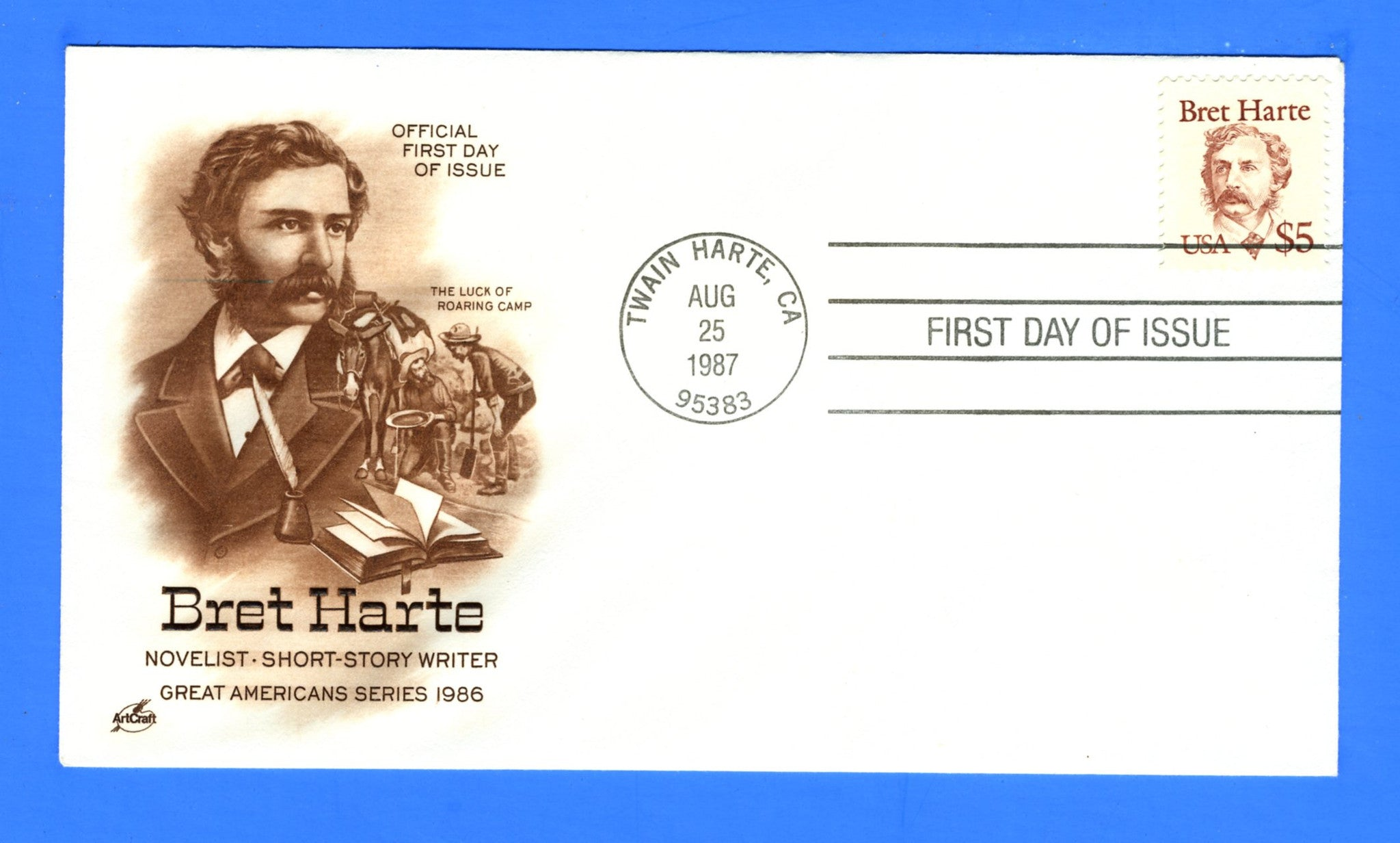 Scott 2196 $5 Bret Harte First Day Cover by Artcraft