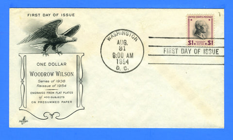 Scott #832c $1 Woodrow Wilson Reprint First Day Cover by Art Craft Hand Cancel