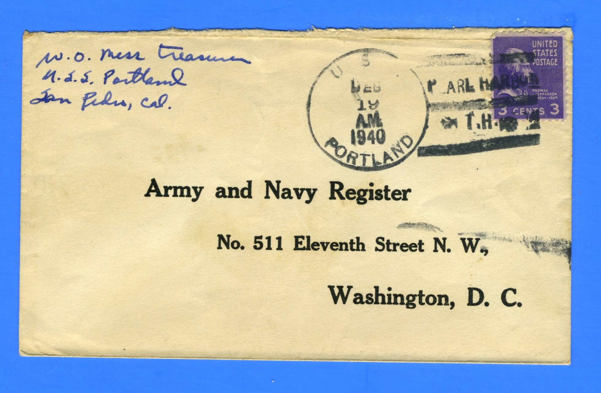 USS Portland CA-33 Sailor's Mail to Army and Navy Register Pearl Harbor December 19, 1940