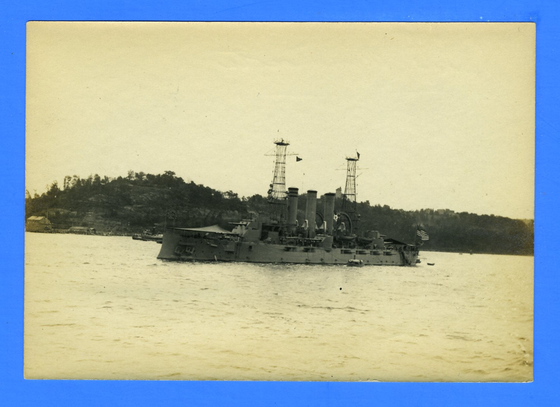 "USS Minnesota BB-22 at Hudson-Fulton Celebration October 1909 - 3 7/8 x 5 1/2"" Photograph"