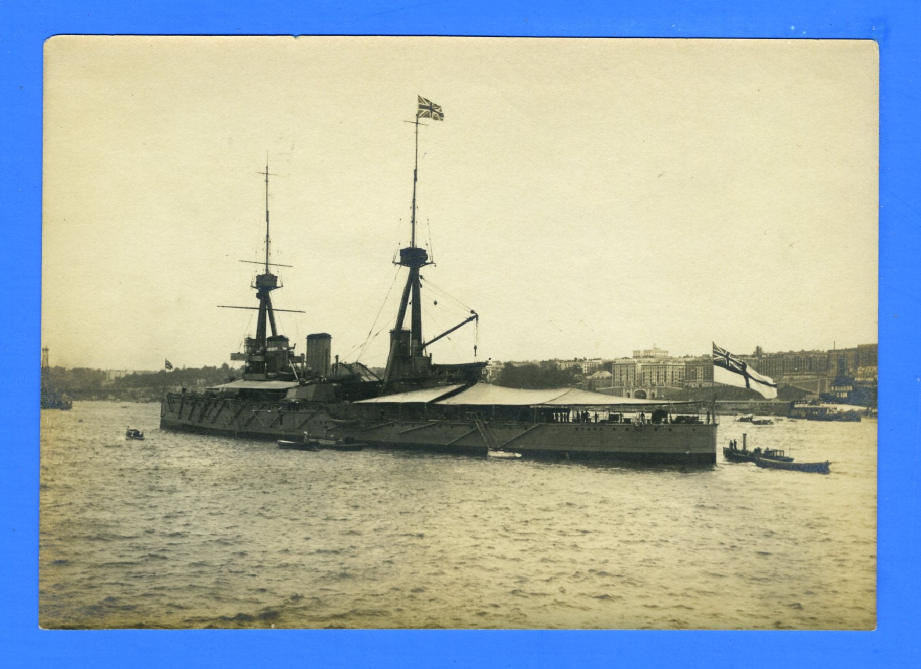 "HMS Inflexible at Hudson-Fulton Celebration October 1909 - 3 7/8 x 5 1/2"" Photograph"