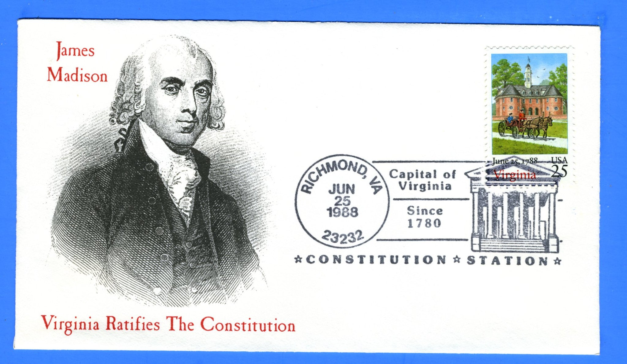 Scott 2345 25c Virginia Statehood Bicentennial First Day Cover not Attributed