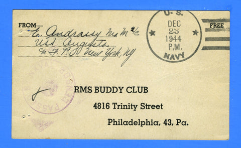 "USS Augusta CA-31 Sailor's Censored ""Free"" Mail December 23, 1944"