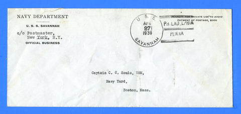 USS Savannah CL-42 Official Mail Philadelphia April 27, 1939